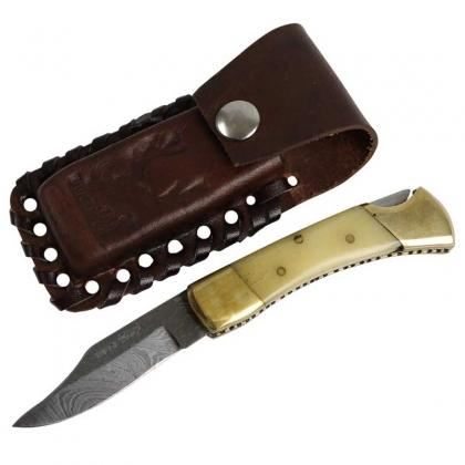 Damascus Blade Hand Forged Hunting Folding Knife
