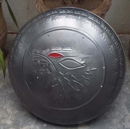 Medieval Metal Shield Wolf Head Engraved