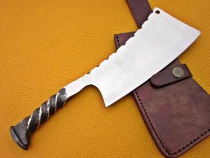 Handmade Rail Road Spike Steel Kitchen Cleaver Knife