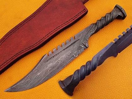 Handmade Damascus Steel with Rail Road Spike Steel Style Hunting Knife