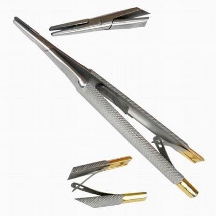 Straight Castroviejo Needle Gold Holder TC